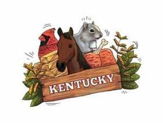 与马,鸟,松鼠,黄金和叶子传染媒介的肯塔基木标志