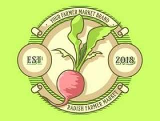 老式的萝卜农民市场标志矢量