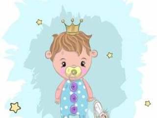 可爱的小宝贝,抱着兔子卡通手绘