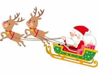 圣诞老人和驯鹿雪橇