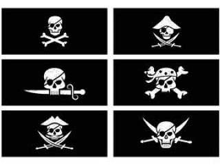 在Grunge样式传染媒介的海盗横幅