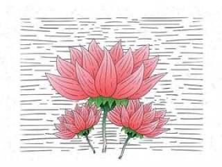 手绘矢量花卉插画