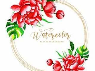 美丽的水彩花卉框架