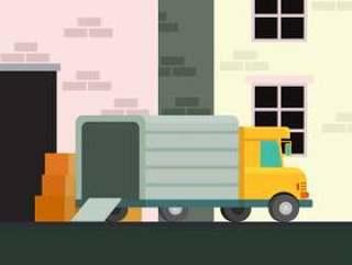 移动的卡车插图矢量