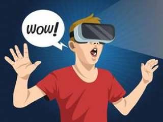 虚拟现实体验人矢量图
