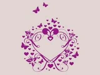 与花和蝴蝶矢量的心