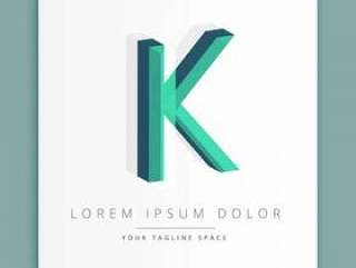 与字母K的3d抽象样式商标