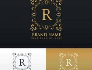 字母R的花卉组合图案边框框架标志