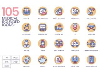 105医疗和医疗保健行业的矢量图标。,105医疗图标|奶油糖果系列