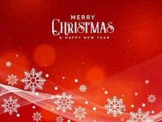 美丽的红色背景圣诞节节日与雪花