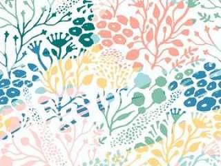 抽象花卉无缝的样式。