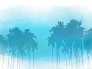 水彩的棕榈树