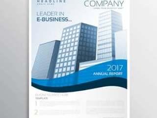 与蓝色波浪和空间的创造性的企业传单设计为哟