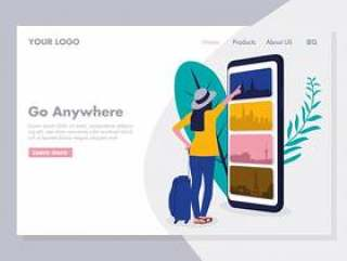 Online Travelling Illustration for landing page