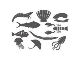 的海洋动物剪影图标矢量