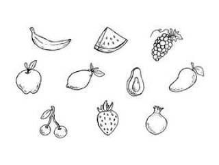 水果素描图标矢量