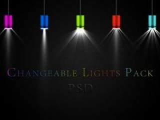 多色组合的炫彩射灯PSD分层素材