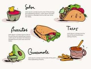 墨西哥食物菜单手绘矢量图