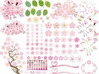 春天的花樱桃树樱花图标集粉红色的颜色
