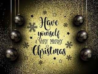 闪烁的圣诞节背景与悬挂的小玩意