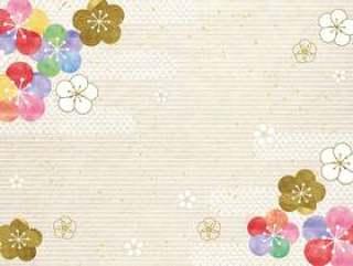 梅_粉彩_日本纸背景1614年