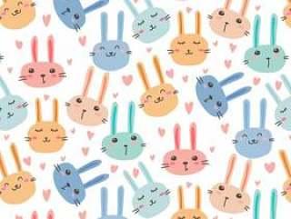 可爱的兔子图案背景。
