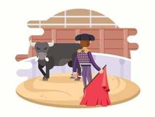战斗与公牛的斗牛士
