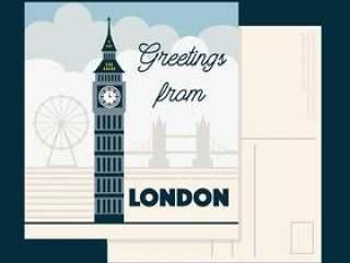 伦敦明信片矢量