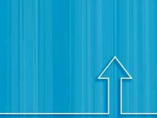 线箭头上升在蓝色背景上的概念