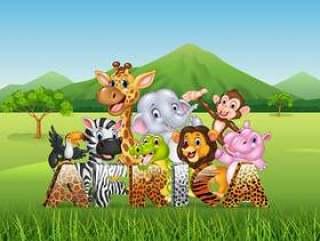 与动画片野生动物的词非洲