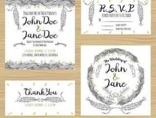 羽毛婚礼卡片