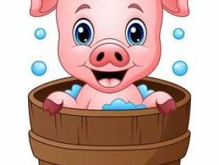 微笑的猪动画片沐浴的传染媒介例证