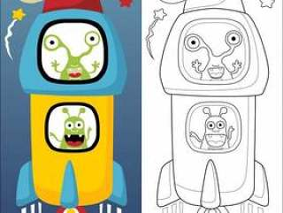 外籍人的传染媒介例证在火箭动画片的