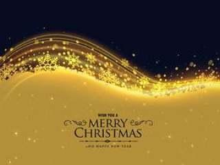 豪华圣诞贺卡设计与雪花和发光