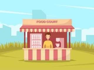 红色食物法院的一个人