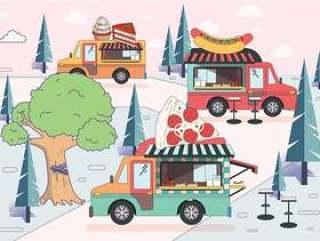 食物卡车节日矢量