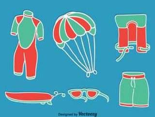 在蓝色传染媒介的风筝冲浪的元素