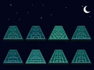 足球场地透视夜间模式 矢量