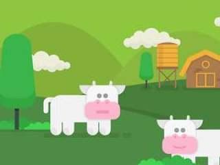 牛插图和农业农场