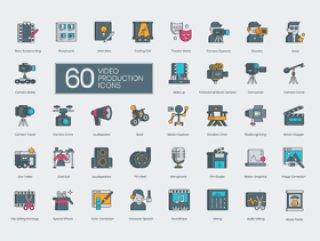 电影和视频制作,编辑,发行和首映的60个图标。,60个视频制作图标