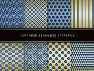 日本模式的蓝色x金的一套