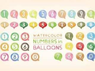 水彩触摸气球数字