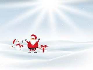圣诞老人和雪人在白雪皑皑的景观