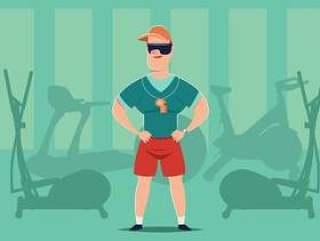 健身房私人教练向量