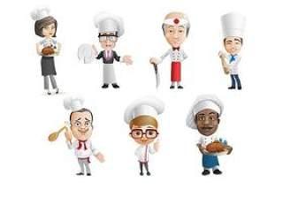 卡通厨师形象PSD分层素材