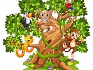 导航野生动物动画片的例证在树的