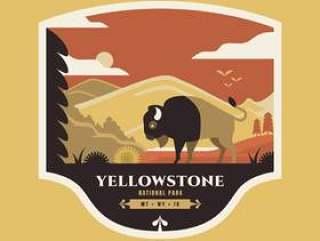 美国北美野牛在国家公园黄石徽章插图。