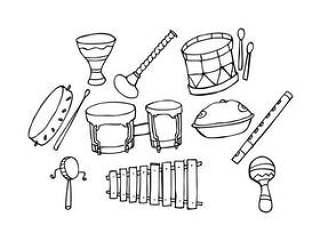 的传统音乐图标手绘制的矢量