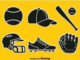 垒球剪影元素矢量