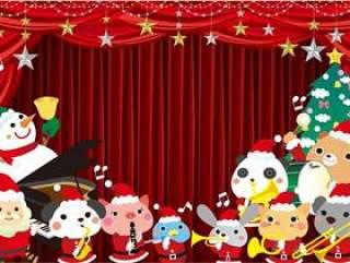 动物乐队圣诞老人的框架与红色的窗帘